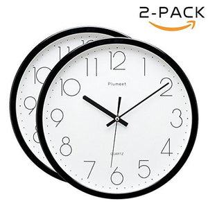 Plumeet 12-Inch Non-Ticking Silent Wall Clock with Modern and Nice Design for Living Room Large Kitchen Wall Clock Battery Operated (Black) - zingydecor