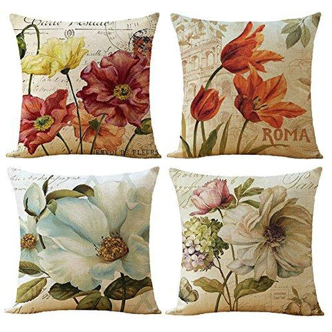 WOMHOPE 4 Pack - 17 x 17 Inch Colorfull Stripe Vintage Style Cotton Linen Square Throw Pillow Case Decorative Cushion Cover Pillowcase Cushion Case for Sofa,Bed,Chair,Auto Seat (C (Set of 4))