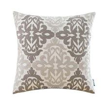 Load image into Gallery viewer, HWY 50 Couch Pillows Covers 18 x 18 inch , Cotton Canvas Embroidered Home Decorative Grey Geometric Throw Pillows Cases For Sofa / Bed Euro Farmhouse Cushion Covers , Gray Decor Floral Pattern