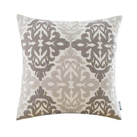HWY 50 Couch Pillows Covers 18 x 18 inch , Cotton Canvas Embroidered Home Decorative Grey Geometric Throw Pillows Cases For Sofa / Bed Euro Farmhouse Cushion Covers , Gray Decor Floral Pattern