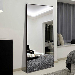 "Hans&Alice Rectangle Full Length Bedroom Floor Leaner Mirror, PS Finished Frame Dressing Mirror, 65""x24"". (White) - zingydecor"