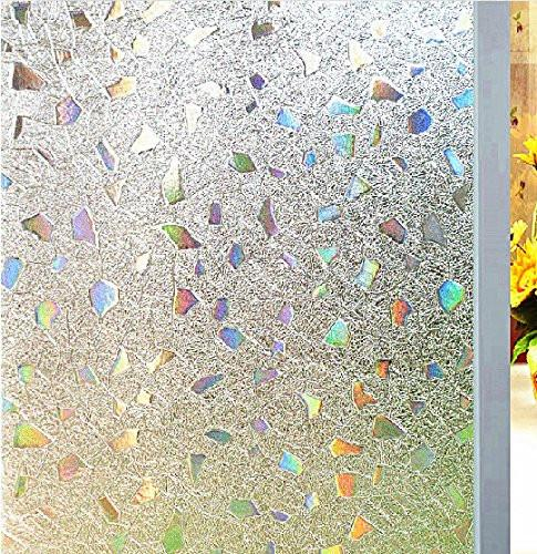 Bloss Etched Privacy Window Film Decorative Self Adhesive Glass Contact Paper Frosted Static Cling Film 17.7inch x 78.7 inch