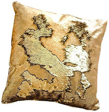 Load image into Gallery viewer, 16x16 Mermaid Pillow with Insert Sparkling Champagne Gold with Flip Sequin Throw Pillow Mermaid Magic Glitter Reversible Color Changing Decorative Pillow Shams Dorm Room Decor for Sofa Comfy - zingydecor