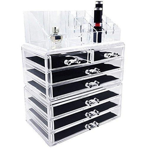 Image of Ikee Design Acrylic Jewelry & Cosmetic Storage Display Boxes Two Pieces Set.
