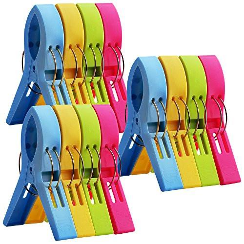 12 Pack Ipow Towel Clips Plastic-Jumbo Size,4 Fun bright colors - for Beach Chairs or Pool Lounges,Heavy Duty Clips to Keep Your Towels,Clothes,Quilt,Blanket from Blowing Away or Sliding Down from Rail