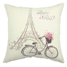 Load image into Gallery viewer, YOUR SMILE-Paris Rustic Cycle Cotton Linen Square Cushion Covers Throw Pillow Covers Decorative 18 x 18 - zingydecor