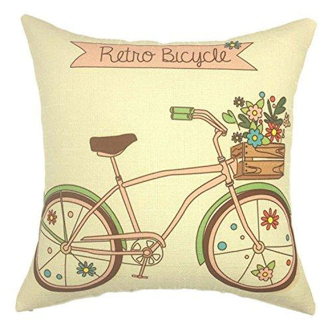 Image of YOUR SMILE-Paris Rustic Cycle Cotton Linen Square Cushion Covers Throw Pillow Covers Decorative 18 x 18