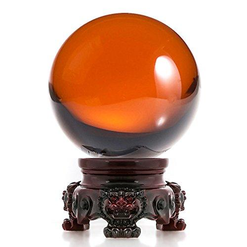 Amlong Crystal 3 inch (80mm) Clear Crystal Ball with Redwood Lion Resin Stand - zingydecor