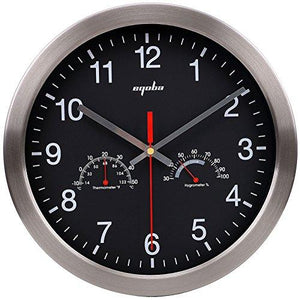 "12"" Quartz Round Silent Metal Frame Digital Decorative Wall Clock No Ticking w/ Temperature & Humidity Stats, Black"