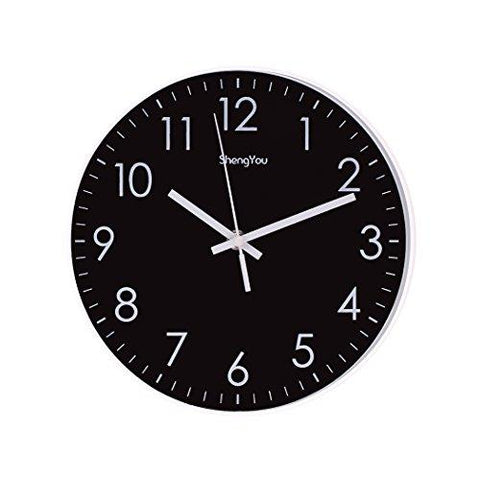 Image of SonYo Indoor Non-Ticking Silent Quartz Modern Simple Wall Clock Digital Quiet Sweep Movement Office Decor 10 Inch(Bluegreen)