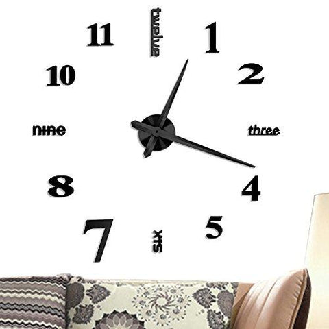 Vangold Large DIY Frameless Wall Clock Modern Mute 3D Wall Clock Mirror Stickers Home Office Decorations Gift ( 2-Year Warranty)