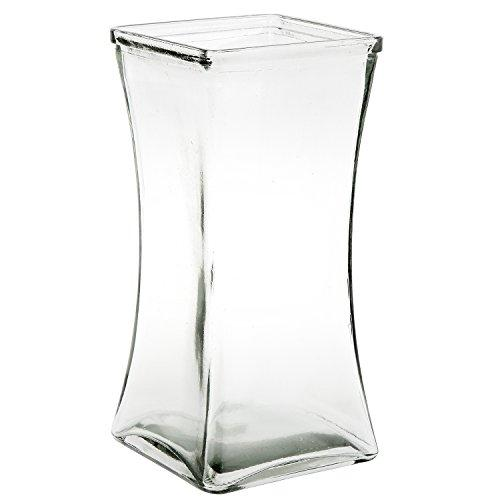 Flower Rose Bunch Glass Gathering Vase Decorative Centerpiece For Home or Wedding (Fits Dozen Roses) by Royal Imports - Square - 8.75