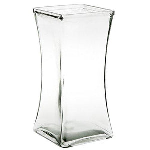 "Flower Rose Bunch Glass Gathering Vase Decorative Centerpiece For Home or Wedding (Fits Dozen Roses) by Royal Imports - Square - 8.75"" Tall, 4.5"" Opening, Clear"