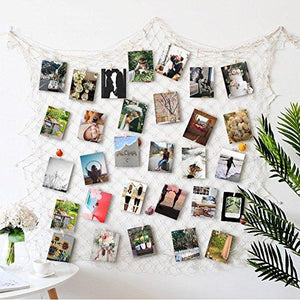 Photo Hanging display with 40 Clip by HAYATA - Fishing Net Wall Decor - Picture Frames & Prints Multi Photos Organizer & Collage Artworks - Nautical Decorative Dorm Bedroom Christmas Decorations