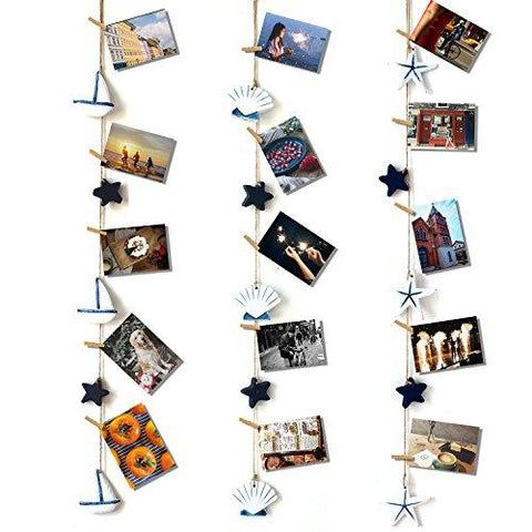 Image of Photo Hanging display with 40 Clip by HAYATA - Fishing Net Wall Decor - Picture Frames & Prints Multi Photos Organizer & Collage Artworks - Nautical Decorative Dorm Bedroom Christmas Decorations - zingydecor