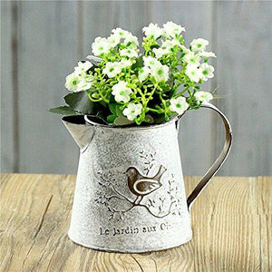VANCORE French Style Shabby Chic Mini Gift Metal Pitcher Flower Vase with Vintage Bird Decorative - zingydecor