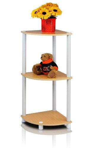 Furinno 12077EX/BK Turn-n-Tube Multipurpose 3-Tier Corner Shelf, Espresso/Black