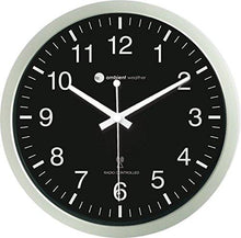 "Ambient Weather RC-1200WB-IL 12"" Luminous Glow in the Dark Atomic Radio Controlled Wall Clock, White / Black - zingydecor"