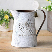 Load image into Gallery viewer, VANCORE French Style Shabby Chic Mini Gift Metal Pitcher Flower Vase with Vintage Bird Decorative - zingydecor