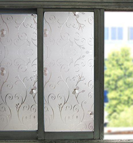 Bloss Etched Privacy Window Film Decorative Self Adhesive Glass Contact Paper Frosted Static Cling Film 17.7inch x 78.7 inch - zingydecor