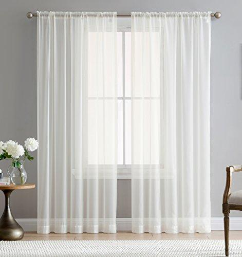 "HLC.ME White 54"" inch x 84"" inch Sheer Curtains Window Voile Panels, Set of 2"