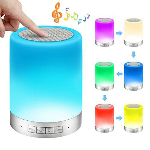 Image of Bedside Lamps - ALECTIDE Bluetooth Speakers, Table Lamp Touch Sensor Dimmable Colors Night Lights 4 Level Brightness Changing, Alarm Clock, Hands-free, Timing Function Best Gifts for Baby Kids Teens
