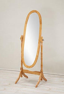 Roundhill Furniture Traditional Queen Anna Style Wood Floor Cheval Mirror, Cherry Finish - zingydecor