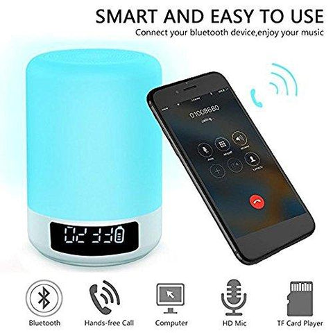 Image of Bedside Lamps - ALECTIDE Bluetooth Speakers, Table Lamp Touch Sensor Dimmable Colors Night Lights 4 Level Brightness Changing, Alarm Clock, Hands-free, Timing Function Best Gifts for Baby Kids Teens - zingydecor