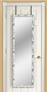 Mirrotek 3VU1448BWFL Triple View Professional Over The Door Dressing Mirror with 4 Mirrors, Toile