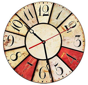 "SofiClock 12"" Vintage Wall Clock With Arabic Numerals, Best Wooden Decor"
