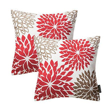 Load image into Gallery viewer, Phantoscope New Living Red&Brown Series Throw Pillow Case Cushion Cover Dahlia Set of 2 - zingydecor