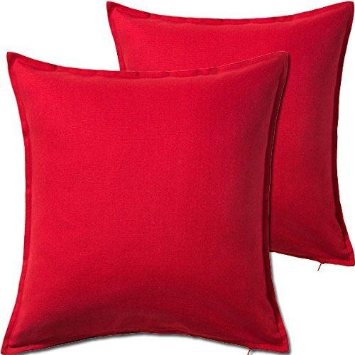 2 Pack Solid Red Decorative Throw Cushion Pillow Cover Cushion Sleeve for 20