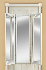 Mirrotek 3VU1448BWFL Triple View Professional Over The Door Dressing Mirror with 4 Mirrors, Toile - zingydecor