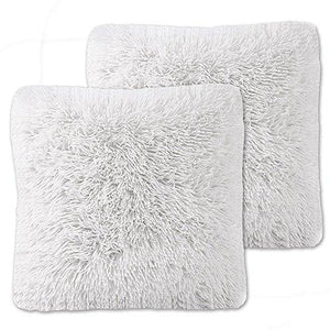 Sweet Home Collection Plush Pillow Faux Fur Soft and Comfy Throw Pillow (2 Pack) - zingydecor