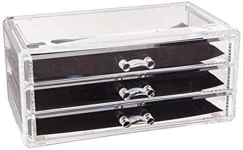 Ikee Design Acrylic Jewelry & Cosmetic Storage Display Boxes Two Pieces Set.