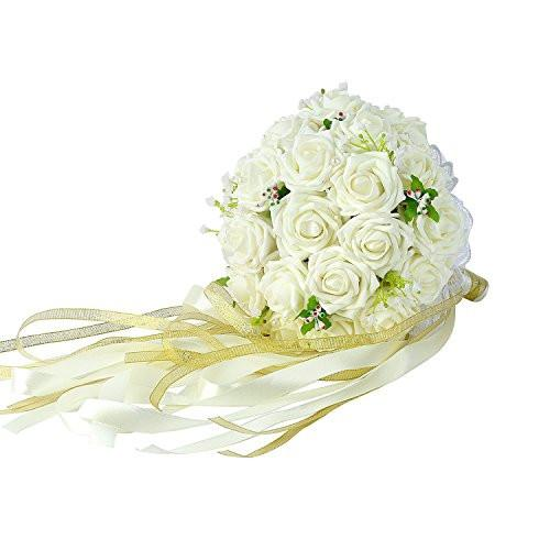 Crystal Roses Pearl Bridesmaid Wedding Bouquet, Bridal Artificial Silk Flowers - zingydecor