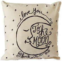 "Load image into Gallery viewer, CoolDream I Love You to the Moon and Back Cotton Throw Pillow Case Vintage Cushion Cover 18"" x 18"" - zingydecor"