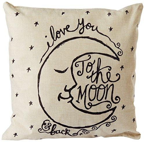 CoolDream I Love You to the Moon and Back Cotton Throw Pillow Case Vintage Cushion Cover 18