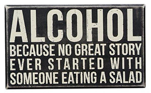 Primitives by Kathy Wood Box Sign, 10-Inch by 6-Inch, Alcohol