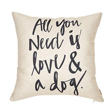 "All You Need is Love and a Dog Lover Quote Cotton Linen Home Decorative Throw Pillow Case Cushion Cover for Sofa Couch, 18"" x 18""… - zingydecor"