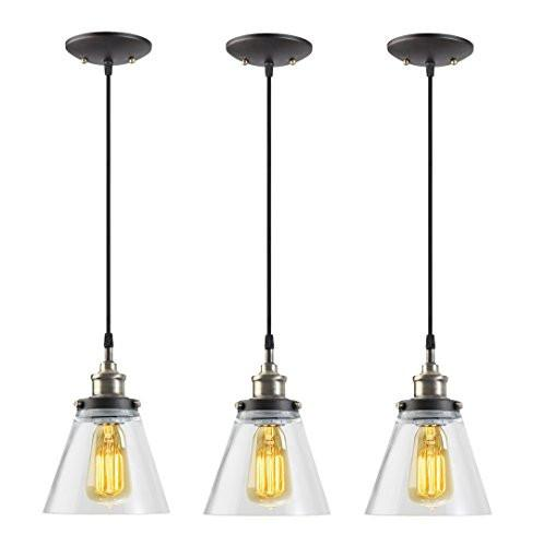 Globe Electric 1-Light Vintage Edison Hanging Pendant, 3-Pack, Antique Brass & Bronze Finish, Black Cord, Glass Shade, 65207 - zingydecor