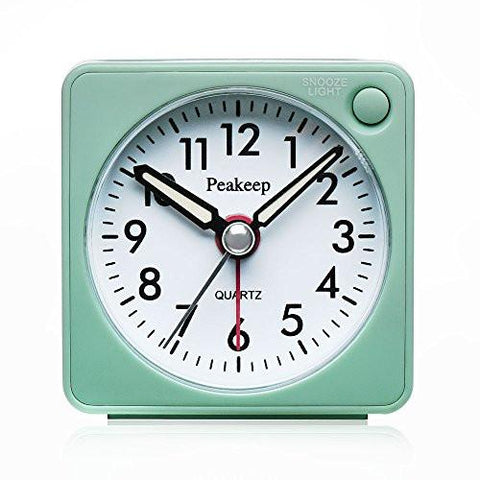 Image of Ultra Small, Peakeep Battery Travel Alarm Clock with Snooze and Light, Silent with No Ticking Analog Quartz