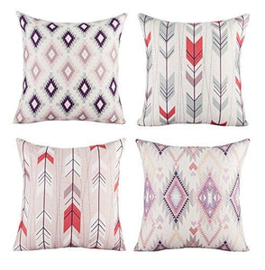 Modern Simple Geometric Style Soft Linen Burlap Square Throw Pillow Covers, 18 x 18 Inches, Set of 4