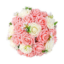 Load image into Gallery viewer, Crystal Roses Pearl Bridesmaid Wedding Bouquet, Bridal Artificial Silk Flowers - zingydecor