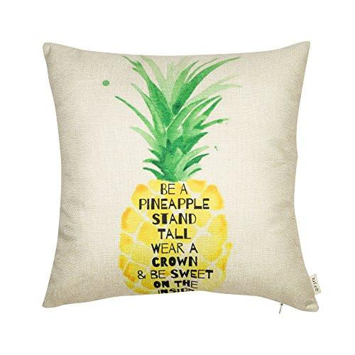 Be a Pineapple Stand Tall Wear a Crown and Be Sweet on the Inside Inspirational Quote Cotton Linen Decorative Throw Pillow Case Cushion Cover for Sofa Couch, Gold Yellow, 18