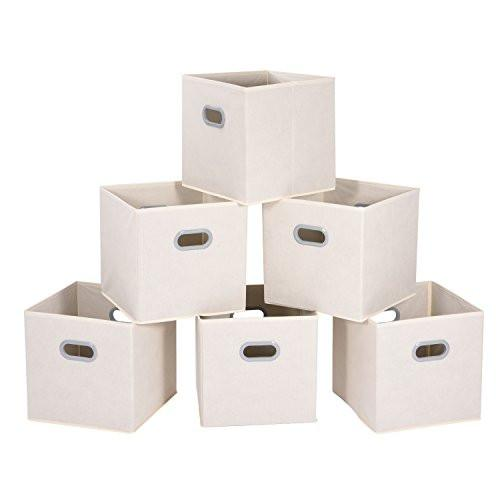 Cloth Storage Bins, MaidMAX Set of 6 Nonwoven Foldable Collapsible Organizers Basket Cubes with Dual Plastic Handles for Gift, Beige