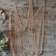 KINGSO Mediterranean Style Decorative Fish Net With Anchor and Shells Beige