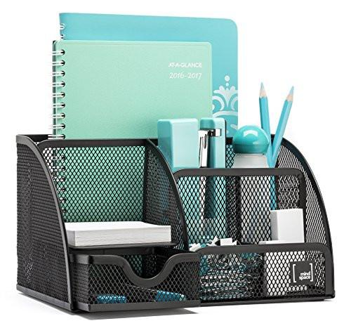 Mindspace Office Desk Organizer with 6 Compartments + Drawer The Mesh Collection, Black - zingydecor