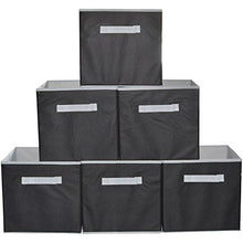 Load image into Gallery viewer, Squared Home Solutions Fabric Storage Cube Bins, Cream Gray  (Set of 6) - zingydecor