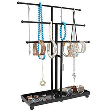 Load image into Gallery viewer, Modern Black Metal 3 Tier Tabletop Bracelet & Necklace Jewelry Organizer Display Tree Rack w/ Ring Tray - zingydecor
